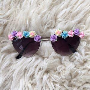 Festival floral heart sunglasses