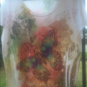 Metallic butterfly pattern tshirt
