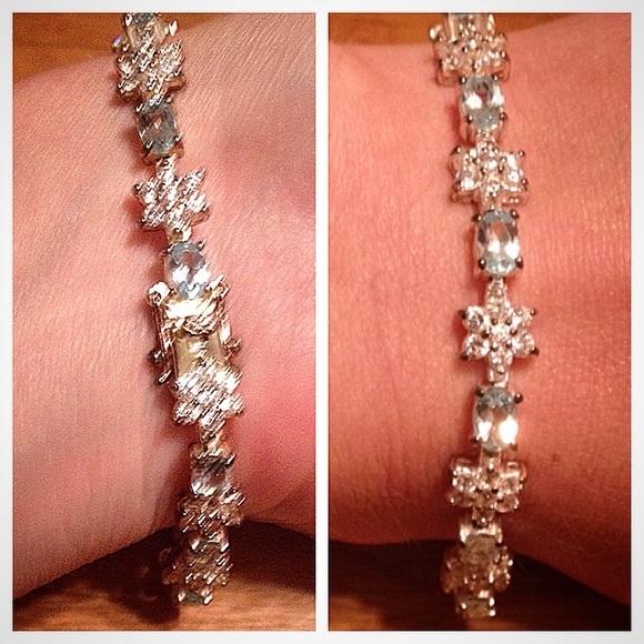 925 CZ Diamond Tennis Bracelet with Blue Gemstones