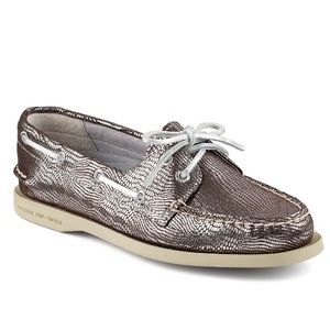 Sperry Top-Sider Shoes - Sperry metallic snake Silver topsiders! new!