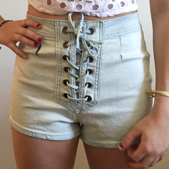 90% off Thrills Pants - Lace up denim shorts from Piper's closet ...