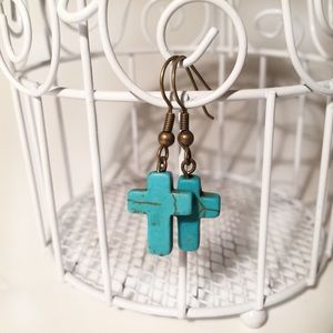 Handmade Turquoise Stone Cross earrings