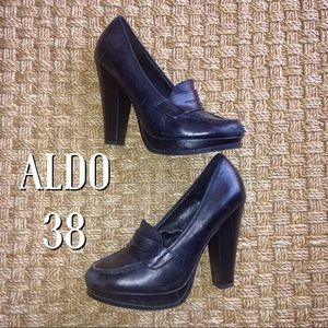 ALDO Shoes - Aldo Black Leather Platform Loafers 38