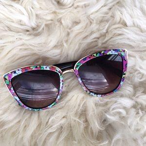 Floral oversized cat eye sunglasses