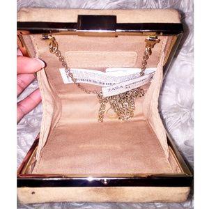 Zara Bags - ZARA bejeweled nude clutch