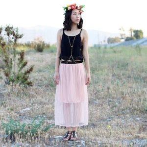 Dresses & Skirts - Pink Sheer Chiffon Skirt