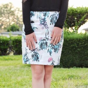 Clear Sequin Printed Skirt