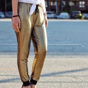 Pants - Gold Metallic Slinky Jogger Pants