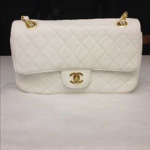 White medium flap bag