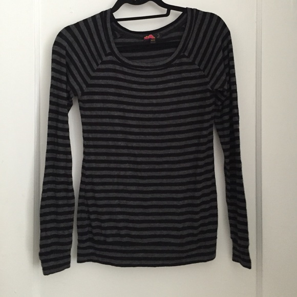 Grey And Black Striped Long Sleeve Shirt