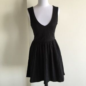 Zara fit and flare black dress