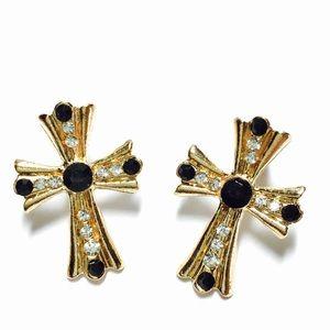 Jewelry -  Black and crystal cross earrings
