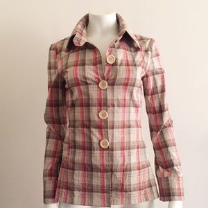 O'neill Pink Plaid Lightweight Coat with Pockets