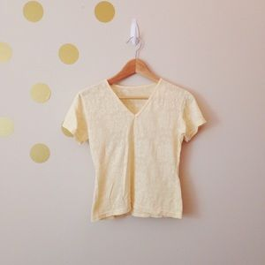 Tops - Yellow floral pattern shirt