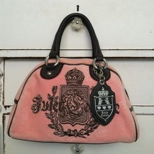 Juicy Couture pink  velour bowler purse with logo