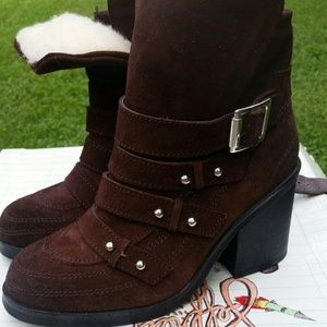Suede Jeffrey Campbell wool lined booties! 5.5