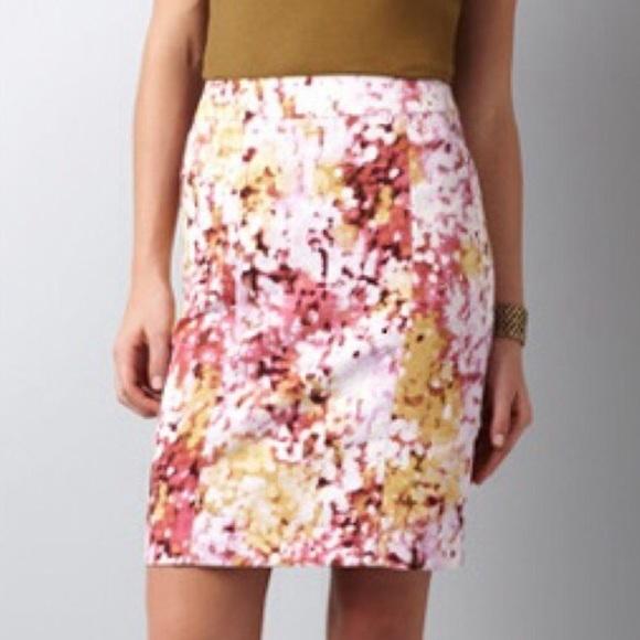 loft sold loft floral watercolor pencil skirt sz 2