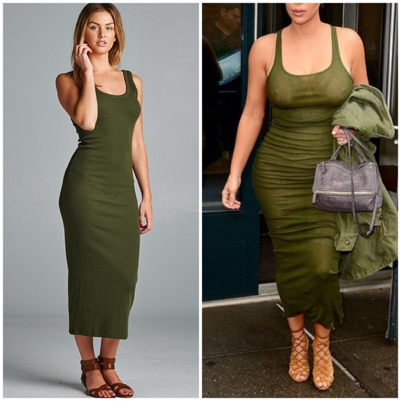 Dresses Medium Olive Green Ribbed Maxi Racerback Kim Dress Poshmark