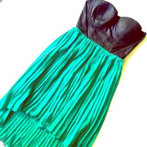 Material Girl Dresses & Skirts - Black & Teal Strapless Pleated Dress Size XS