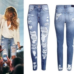 HM Destroyed Skinny Jeans seen on Beyonce 30/32
