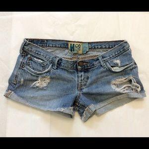Hollister blue jean denim destroyed shorts size 3