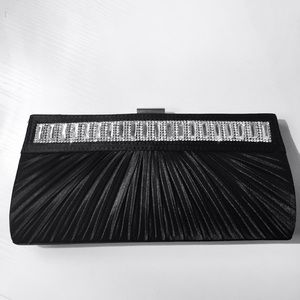 Handbags - Black satin embellished evening clutch