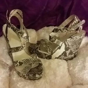 Nine West Snake Skin Wedges