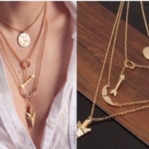 Four layer gold arrow wings necklace chain