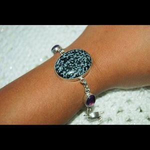 "handmade & handcrafted gemstone jewelry Jewelry - Obsidian Stone & Amethyst Beads Bracelet 7"""