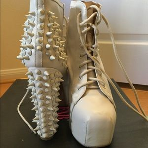 Jeffrey Campbell White Leather Ankle Boots