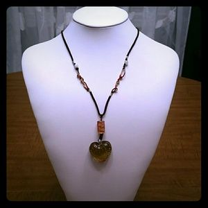 Heart Lampwork Glass Art Pendant Necklace
