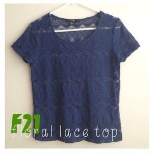 Blue Floral Lace Top