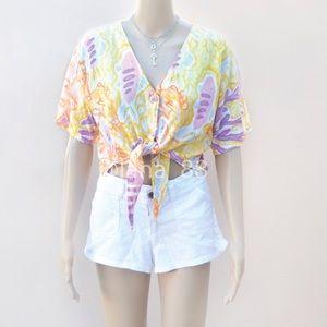Vintage Colorful Sea Themed Tie Crop Top