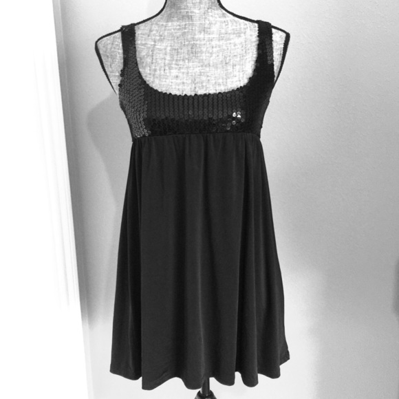 Forever 21 Tops - Black Sequin Dress or Tunic Top Short Mini Party