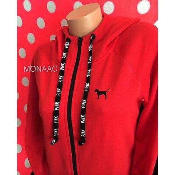 07049f0171ccf PINK by Victorias Secret Red Zip Up Hoodie