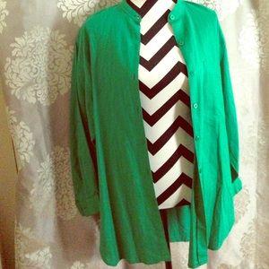 Jones New York Linen Green Quarter Length Sleeve