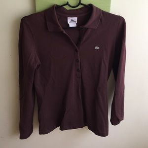Lacoste Brown Long-Sleeve Polo