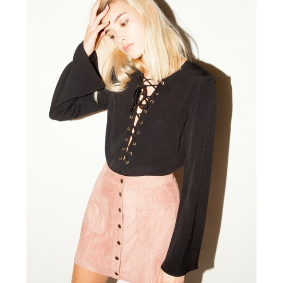 59% off Nasty Gal Tops - Black Long Sleeve Lace Up Blouse Corset ...