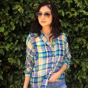 BDG Tops - Colorful Sheer Plaid Shirt