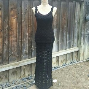 Lovers + friends crochet summer black dress