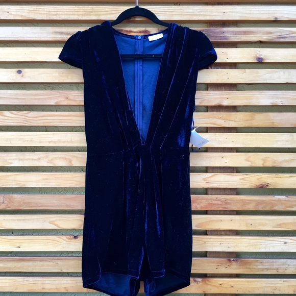 48e3abbc76b dark blue velvet romper