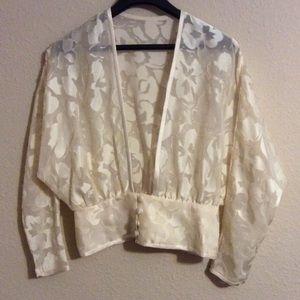 Vintage Satin Burnout Floral Top Jacket Sz M