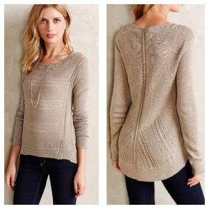 {Anthropologie} Pointelle Stitch-Mix Pullover