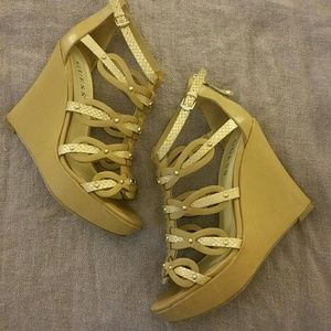 Guess Nude Strappy Wedges