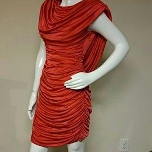 Variations Dresses Vintage Scarlet Red Gathered Ruched Cocktail