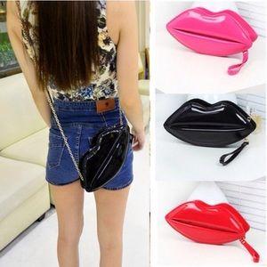 Black lip shaped clutch/cross body bag