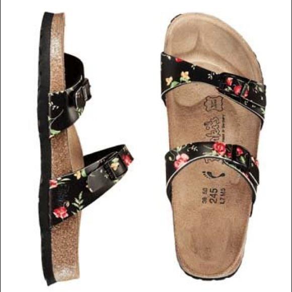 363a405b952896 Birkenstock Shoes - Black floral birkis Birkenstocks sandals