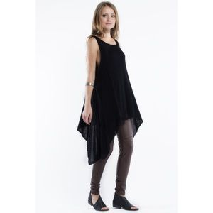 """Rebel"" Loose Asymmetrical Black Tank Tunic"