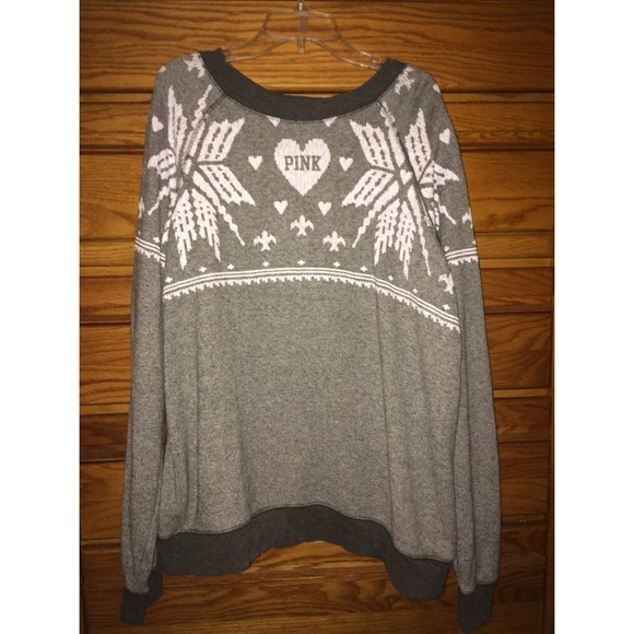 PINK Victoria's Secret - Vs PINK grey holiday sweater from ...