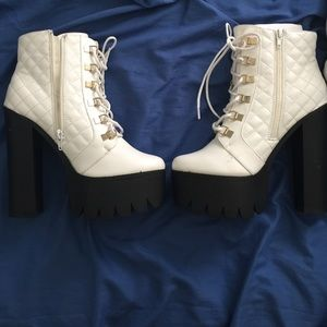 White platform heels